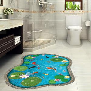 Lotus Pond Fish 3D Floor Sticker For Bedroom -