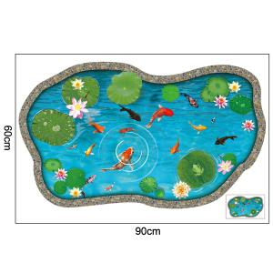 Lotus Pond Fish 3D Floor Sticker For Bedroom - LAKE BLUE 60*90CM