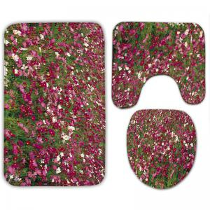 3Pcs Flannel Flower Field Bath Toilet Rugs Set -