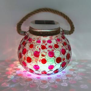 Solar Glass Jar Color Changing Hanging Light - RED