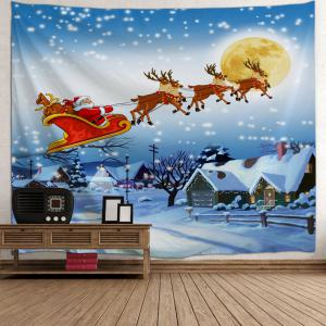 Christmas Village Print Tapestry Wall Hanging Art Decoration - ICE BLUE W59 INCH * L51 INCH