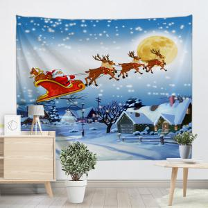Christmas Village Print Tapestry Wall Hanging Art Decoration - ICE BLUE W79 INCH * L71 INCH