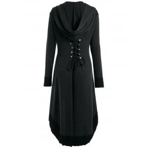 High Low Hooded Plus Size Lace-up Coat - BLACK XL