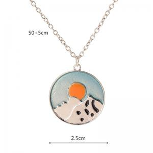 Glow in the Dark Snow Mountain Sun Necklace -