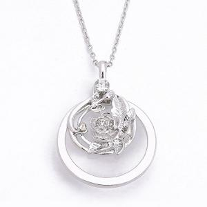Rhinestone Engraved Rose Flower Pendant Necklace - SILVER