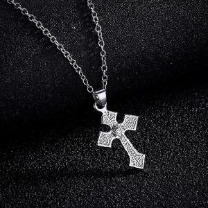 Tiny Rhinestone Crucifix Charm Necklace - SILVER