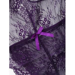 Lace Sheer Lingerie Teddy - Pourpre S