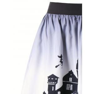 Halloween Castle Pattern Ombre Swing Skirt -