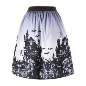 Halloween Castle Pattern Ombre Swing Skirt - WHITE AND BLACK 2XL