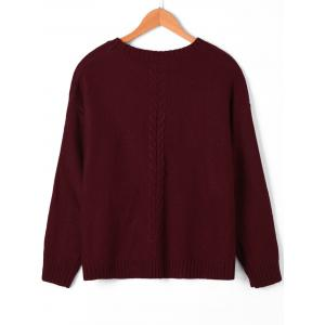 Keyhole Neck Cable Knit Sweater -