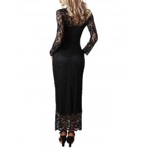 Maxi Lace Long Sleeve Bodycon Dress -