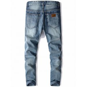 Mid Rise Zip Fly Faded Jeans - LIGHT BLUE 30
