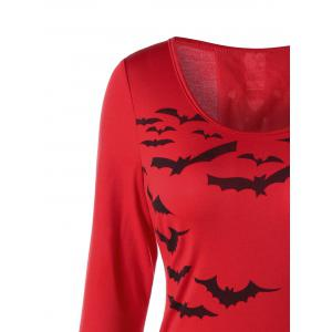Halloween Bat Print Lace Up Sheath Dress -