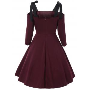 Bowknot Cold Shoulder Vintage Dress - Rouge vineux  S