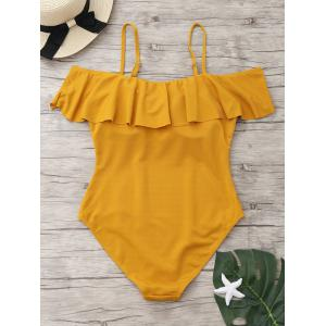One Piece Ribbed Knit Flounce Swimsuit -