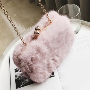 Chain Faux Fur Crossbody Bag - PINK