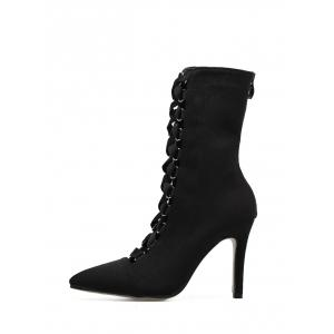 Cross Strap Pointed Toe Stiletto Mid Calf Bottes - Noir 37