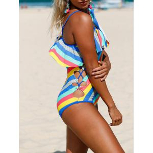 Striped Ruffle Lace Up Swimsuit - COLORMIX M