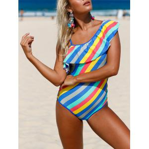Striped Ruffle Lace Up Swimsuit - COLORMIX XL