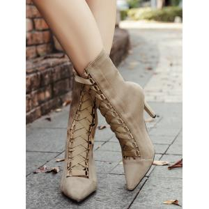 Cross Strap Pointed Toe Stiletto Mid Calf Boots - APRICOT 39