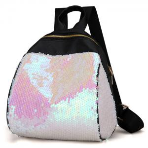 Faux Leather Sequins Backpack - WHITE