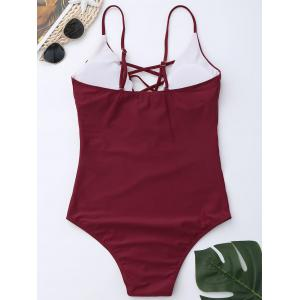 Cross Back One Piece Swimsuit - WINE RED M
