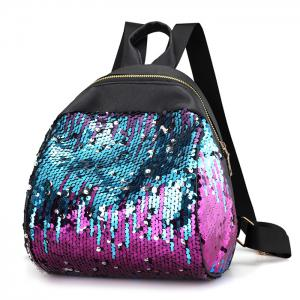 Faux Leather Sequins Backpack - BLUE