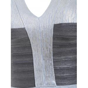 Sleeveless V Neck Metallic Bandage Dress - SILVER M