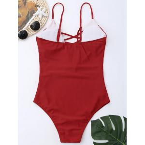 Cross Back One Piece Swimsuit - RED L
