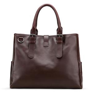 Faux Leather Buckle Strap Metal Ring Briefcase - Brun