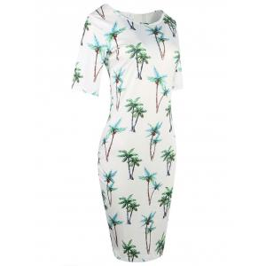 Formal Floral Ptint Bodycon Dress - WHITE S