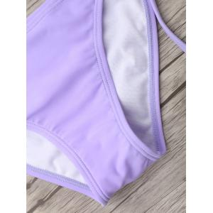 U Neck Tie Side Bikini Swimwear - LIGHT PURPLE S