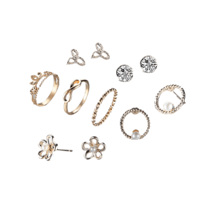 Faux Pearl Flower Earring and Crown Ring Set - GOLDEN