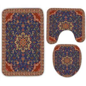 3Pcs Ethnic Flower Print Bath Rugs Set - BROWN