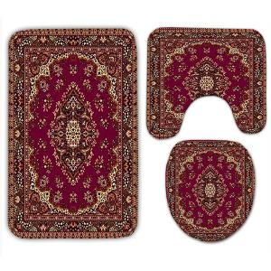 European Ethnic Flannel Printed 3Pcs Bath Mats Set - COLORMIX