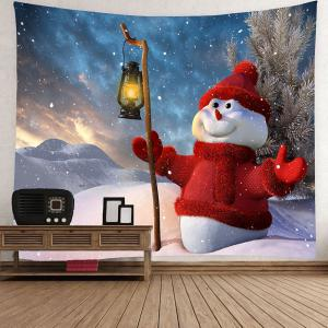 Taking Lamp Christmas Snowman Patterned Wall Art Tapestry - COLORFUL W59 INCH * L51 INCH