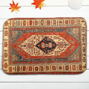 3Pcs Flannel Geometric Ethnic imprimé Tapis de toilette Set -