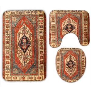 3Pcs Flannel Geometric Ethnic Printed Toilet Rugs Set -
