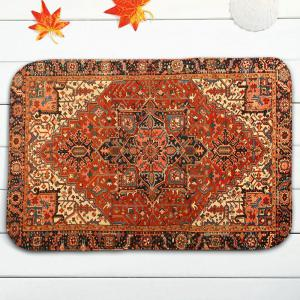 Ethnic Geometric 3Pcs Flannel Bath Toilet Mats Set - ORANGE