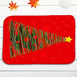 3PCS Christmas Tree Print Bath Toilet Mats Set - RED