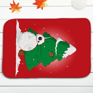 3PCS Christmas Tree Snowman Bath Rugs Set - RED