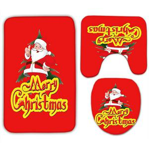 Merry Christmas 3PCS Ensemble de mousses de toilette Santa Claus - Rouge