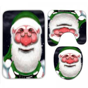 Santa Claus Flannel 3PCS Christmas Bath Rugs Set -