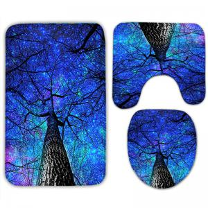 3Pcs Star Night Tree Flannel Bath Mats Set -