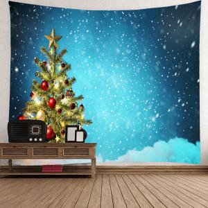 Christmas Tree and Snows Printed Waterproof Wall Art Tapestry - BLUE W71 INCH * L71 INCH