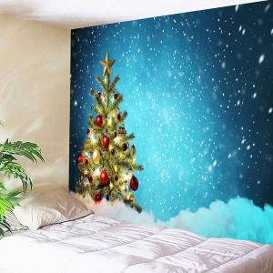 Christmas Tree and Snows Printed Waterproof Wall Art Tapestry -