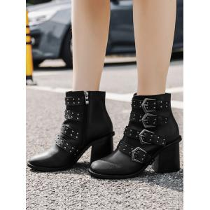 Studded Block Heel Ankle Boots - BLACK 37