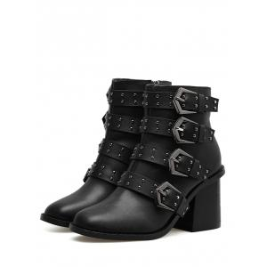 Studded Block Heel Ankle Boots -