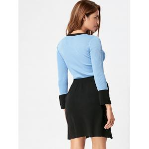 High Waist Two Piece Knit Bodycon Dress - BLUE AND BLACK ONE SIZE