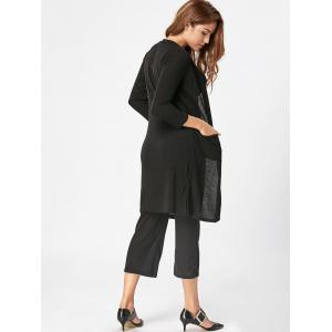 Capri Pant Cami Top with Cardigan Three Piece Knit Suit - BLACK L